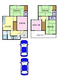 泉北高速鉄道 泉ヶ丘駅 徒歩30分の賃貸一戸建て 1階5DKの間取り
