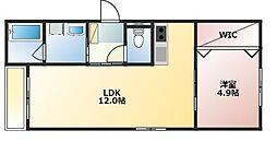 アーテム東櫛原 3階1LDKの間取り