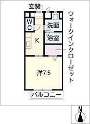 愛知県東海市大田町汐田の賃貸アパートの間取り