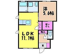 愛媛県松山市立花1丁目の賃貸アパートの間取り