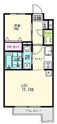 JR仙石線 陸前原ノ町駅 徒歩7分の賃貸アパート 2階1LDKの間取り