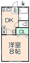 ドーム多摩J棟 1階1DKの間取り