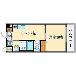 大阪モノレール彩都線 豊川駅 徒歩14分の賃貸マンション 3階1DKの間取り