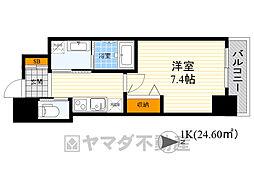 北大阪急行電鉄 江坂駅 徒歩5分の賃貸マンション 6階1Kの間取り