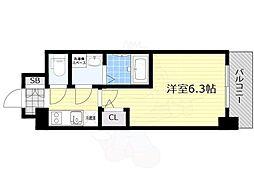 プロヴィスタ新大阪イーストゲート 8階1Kの間取り
