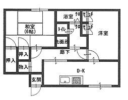 長曾根アパート(金岡小学校区)[1階]の間取り