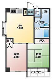 エンブレム東大沢[305号室]の間取り