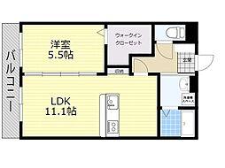 (仮)ユーミー日岡 2階1LDKの間取り