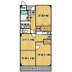 グランボヌールII[3階]の間取り