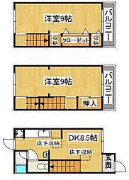 [テラスハウス] 大阪府四條畷市蔀屋本町 の賃貸【/】の間取り