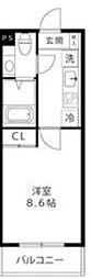 LOC'S SHINYURIGAOKA 3階1Kの間取り