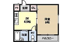 GOKEN家 3階1DKの間取り