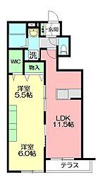 (仮称)平戸町メゾン A棟 1階2LDKの間取り