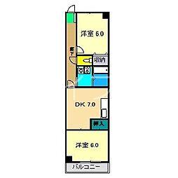 梅ヶ辻ハイツ[5階]の間取り