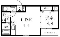 F mirai Roost(エフミライルースト) 1階1LDKの間取り