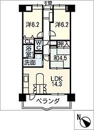 レインボー豊明前後 610号室[6階]の間取り