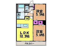 愛媛県松山市居相5丁目の賃貸マンションの間取り