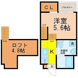 愛知県春日井市関田町2丁目の賃貸アパートの間取り