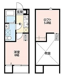 神奈川県座間市栗原の賃貸アパートの間取り