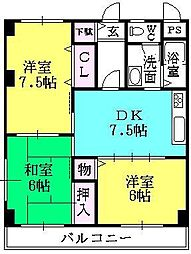 シェモア津門[302号室]の間取り