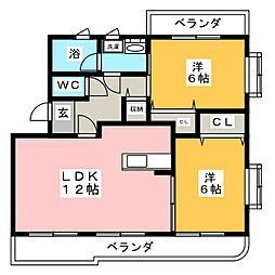 ヴィラージュ藤ノ木 A棟[2階]の間取り