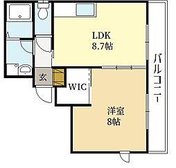 セントレ・デ・モンターニュ 3階1LDKの間取り