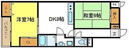 大阪府大阪市平野区喜連西4丁目の賃貸マンションの間取り