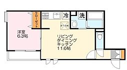 神奈川県川崎市多摩区長尾4丁目の賃貸アパートの間取り
