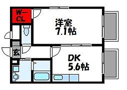 アムールKANKI[1階]の間取り