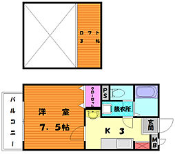 福岡県福岡市東区多々良2丁目の賃貸アパートの間取り