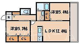 広島県広島市安芸区矢野東4丁目の賃貸アパートの間取り