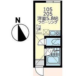 ユナイト鹿島田バートランド・ラッセル[105号室]の間取り