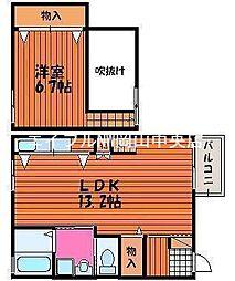岡山県岡山市中区森下町の賃貸アパートの間取り