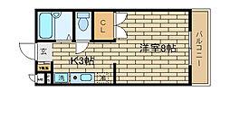 兵庫県神戸市須磨区須磨寺町1丁目の賃貸アパートの間取り
