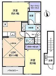 メゾンフォリアB[2階]の間取り