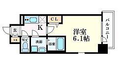 JR東西線 海老江駅 徒歩4分の賃貸マンション 11階1Kの間取り