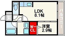 福岡市地下鉄七隈線 別府駅 徒歩8分の賃貸マンション 4階1LDKの間取り
