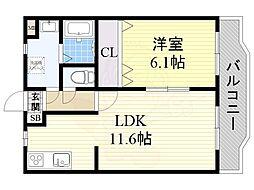 近鉄大阪線 大和朝倉駅 徒歩12分の賃貸マンション 1階1LDKの間取り