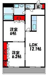 コリーナベルデIII 3階2LDKの間取り