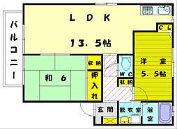 福岡県福岡市東区美和台新町の賃貸アパートの間取り