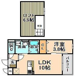 兵庫県伊丹市大鹿6丁目の賃貸アパートの間取り