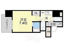Osaka Metro堺筋線 堺筋本町駅 徒歩4分の賃貸マンション 9階1Kの間取り