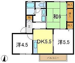 兵庫県加古郡播磨町古宮の賃貸アパートの間取り