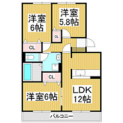 リ・ドーレ F[2階]の間取り