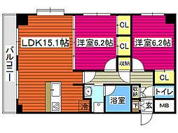 仙台市営南北線 北仙台駅 徒歩7分の賃貸マンション 7階2LDKの間取り