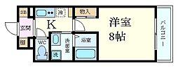 阪神本線 御影駅 徒歩6分の賃貸マンション 1階1Kの間取り