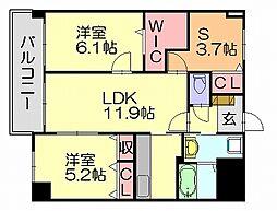 スカイシャトレ柚須[5階]の間取り