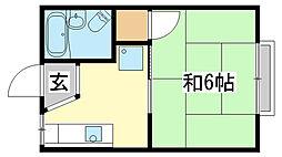 兵庫県姫路市坊主町の賃貸アパートの間取り