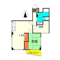 竹の塚ローヤルコーポ[403号室]の間取り