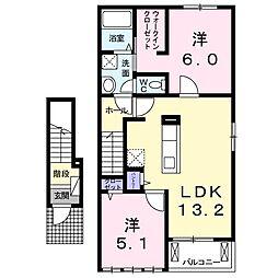 徳島県板野郡藍住町富吉字地神の賃貸アパートの間取り